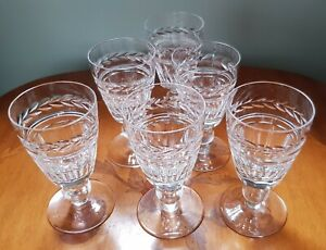 6 Vintage 1950s Small Sherry Port English cut Crystal glasses from Stourbridge