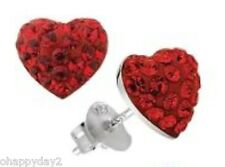 signed Swarovski~ Red pave HEART TRUTH pierced Earrings~ New ~ perfect! love
