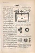 Lithografie 1894: Drehbank. Eisen Schrauben-Zentrier-Futter Leit-Spindel-Support