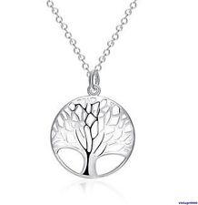 074 Damen Halskette mit Anhänger Baum des Lebens Familie 925 Silber Plattiert