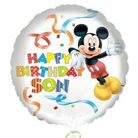 """MICKEY MOUSE HAPPY BIRTHDAY SON 18"""" Round Helium Foil BALLOON Decoration Party"""