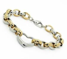 Unisex Women's Mens Stainless Steel Silver Gold Tone Bracelet L29