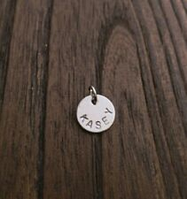 Stainless Steel Personalised Initials Charm Pendant 10mm 12mm Disc Jump Ring