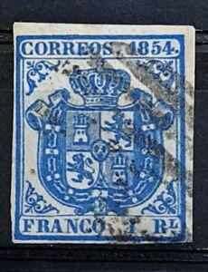 Edifil 34 A usado 1854 Escudo de España Spain
