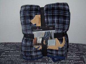 Cuddl Duds Soft Plush Sherpa Throw Blanket w/ APPLIQUE DOG 50x60 Blue Plaid NWT