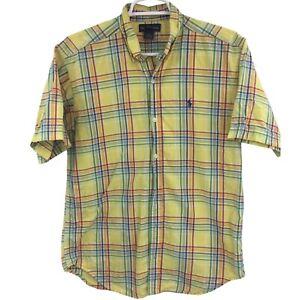 Ralph Lauren Boys XL Yellow Plaid Short Sleeve Button Down Shirt Casual