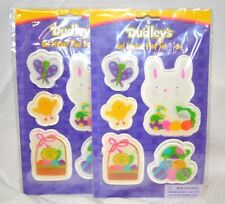 2 PK 10 Item SET Easter Bunny CHICK Butterfly Basket EGGS GEL STICKER Play DECOR