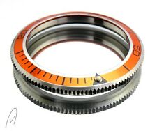 Edelstahl Bezel (Lünette) mit Aluminium Einsatz für Vostok Taucheruhr orange
