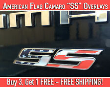 Camaro SS Emblem Overlays American Flag Design Stickers