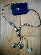 Jane Norman Cord ring heart necklace chocolate RRP £12
