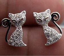 Stunning Silver Crystal Gem Set Kitty Pussy Cat Animal Stud Earrings