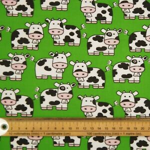 FABRIC REMNANT 112cms x 50cms GREEN COWS  100% COTTON  PATCHWORK FACE MASK CRAFT