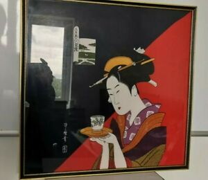 Vintage Japanese Signed Silk Picture Hand Embroidered Lady Tea