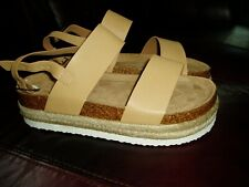 "NWOT, ""JUNIOR'S / WOMEN'S PLATFORM SANDALS"", Sandal Strap, Size 8, Beige/Tan"