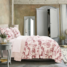3pc CLASSIC TOILE Du Jouy King Quilt Set Reversible Cameo Red Barefoot Bungalow