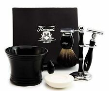 New Black Badger Shaving Brush & Double Edge Safety Razor Stand & Soap Mug SET