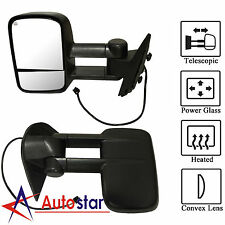 Black Power Heated Towing Side View Mirrors LH & RH Pair Set For 07-13 Chevy GMC