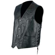 Black Leather Vest Laced Sides Motorcycle Biker Harley Rider Size Large