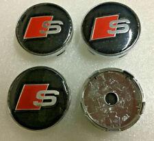 4x60mm AUDI Black S Line Wheel Center Caps Logo Emblem Badge Hub Caps Rim Caps