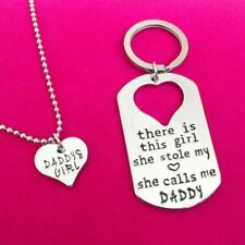 Love Heart Keychain Necklace Unit Daddy Daughter Dad Father Girls Family Gift