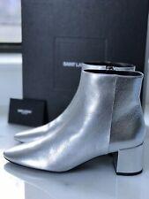 NIB Saint Laurent Silver LouLou 50 Zip Bootie Boots Heels Shoes sz 36.5 / 6.5