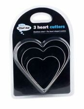 3 Heart Shape Biscuit Cookie Pastry Cutter Stainless Steel Think Baking Love