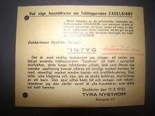 antique old vintage EXCELSIOR washing machine letter ad logo promo 1932 sweden