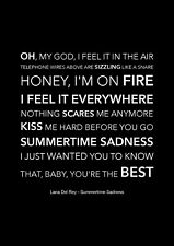 Lana Del Rey - Summertime Sadness - Black Song Lyric Art Poster - A4