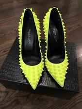 Philipp Plein $1495 Authentic Neon Yellow High Heels Pop Studed Pumps Size 37