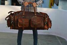 "30"" Bag Leather Retro Men Travel Duffle Vintage S Genuine Gym Luggage Duffel New"