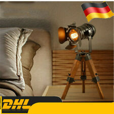 Stativ Tisch / Stehlampe Retro Home Light E27 Höhenverstellbarer Holz Loft Stil