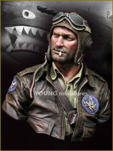 young miniatures flying tigers 1942 military   resin  bust kit model  ym1843