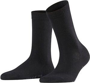 Falke 254232 Women's Soft Merino Black Crew Cut Socks Shoes Size 41-42