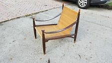 Very Rare Mid Century Modern Woven Reed,Rosewood And Leather Arm Chair
