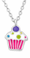 "925 Sterling Silver Childrens Pink Cupcake pendant Necklace 15"" Chain"