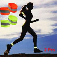 2X Sports Running Safety Reflective Arm Band Belt Strap Night Glowing Wristband~