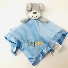 Baby Kiss Gray Grey Puppy Dog Plush Lovey Blanket Blue Hug Me Satin Security