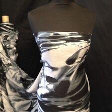 "Beautiful 100% Pure Silk Tie Die Print Fabric Black Grey's White 141cm 54"""