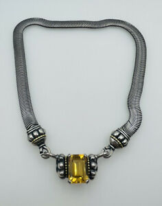 Lagos Caviar Sterling Silver & 18k Yellow Gold Citrine Necklace