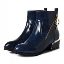 Biker Women British Style Block Low Heel Patent Leather Chelsea Ankle Boots US D