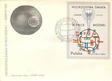 2078 - Polonia - Foglietto Coppa del mondo di calcio su busta, 1966