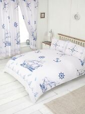 KING SIZE DUVET COVER SET NAUTICAL SHIP SEA ROPE WHITE MARINE ANCHOR COMPASS