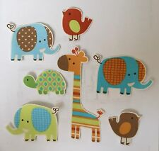 Pastel Elephants and Friends - Iron On Fabric Appliques / Jungle Animals