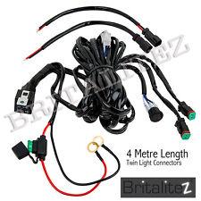 12V Twin Kit di cablaggio include INTERRUTTORE & relay LED riflettori LAVORO LUCE DI NEBBIA BAR