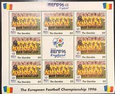 Gambia '96 Euro England Football Championship Stamp- Romania Sheetlet of 9