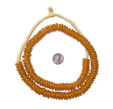 African Tangerine Orange Recycled Glass Beads (11mm) Ghana
