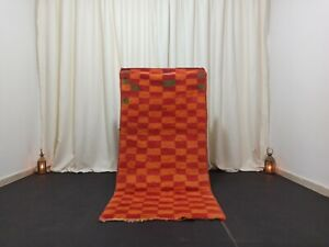 "Handmade Vintage Moroccan Rug Berber Moroccan Checkered Carpet 2'9""x 6'2"" Feet"