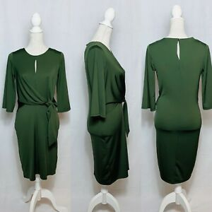 Wallis Green Dress Size 8 BNWT 3/4 Sleeves Round Neck Ruched Wedding Occasion