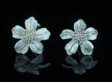 Tiffany & Co. Sterling Silver Dogwood Wild Rose Flower Earrings LARGE 1in.
