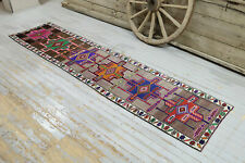 2.6x11.2, HALLWAY Runner, TURKISH Runner, GYPSY, Vintage Runner, Wool, Handmade